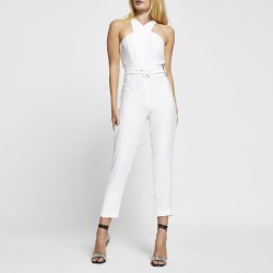River Island Womens White sleeveless wrap neck jumpsuit found on Bargain Bro UK from River Island - UK
