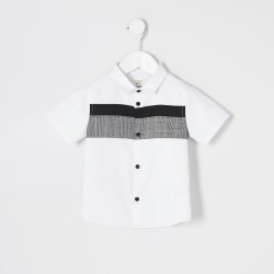 River Island Mini boys White check blocked poplin shirt