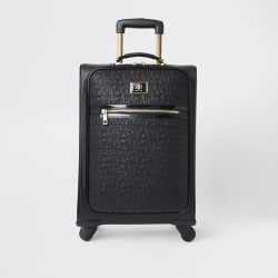 River Island Womens Black RI monogram zip front suitcase found on Bargain Bro UK from River Island - UK