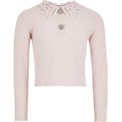 River Island Girls Pink broderie collar ribbed top