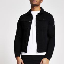 River Island Mens MCMLX black muscle fit denim jacket