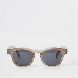 Mens River Island Brown retro frame sunglasses