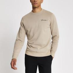 River Island Mens Prolific stone slim fit sweatshirt