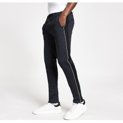 River Island Mens Navy textured skinny smart joggers