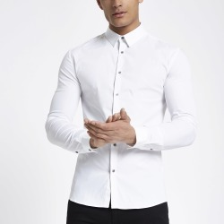 Mens River Island White long sleeve muscle fit shirt