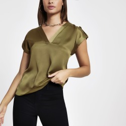 Womens Khaki V neck T-shirt found on MODAPINS from River Island - UK for USD $33.04