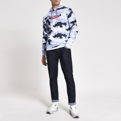 Mens River Island Hype Blue camo box fit hoodie