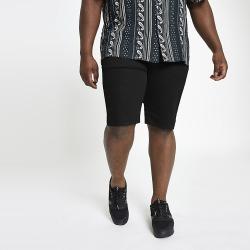 River Island Mens Big and Tall black skinny fit shorts
