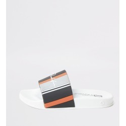 River Island Boys White stripe Prolific sliders