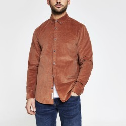 Mens River Island Maison Riviera rust corduroy shirt found on MODAPINS from River Island - UK for USD $37.57
