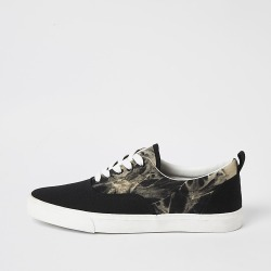 River Island Mens Black tie dye lace-up trainers