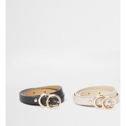 River Island Womens Pink 2 pack double ring belt found on Bargain Bro UK from River Island - UK