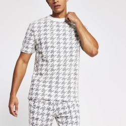 Mens River Island Maison Riviera dogtooth check T-shirt