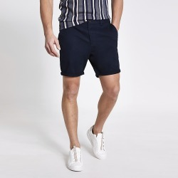 River Island Mens Navy Dylan slim fit shorts