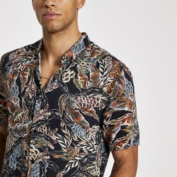 River Island Mens Black feather printed slim fit shirt