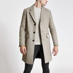 Mens River Island Light Brown single breasted wool overcoat