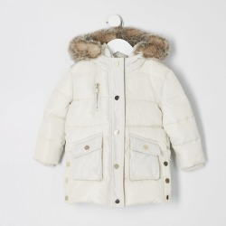 River Island Mini girls Cream padded printed longline coat