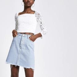 Womens Light Blue denim mini skirt found on MODAPINS from River Island - UK for USD $38.12