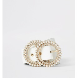 River Island Womens White pearl and diamante double ring belt found on Bargain Bro UK from River Island - UK