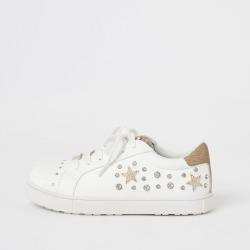 River Island Girls White embellished lace-up trainers