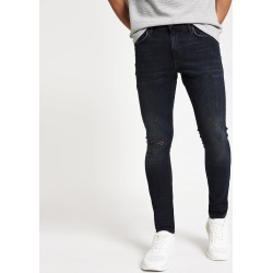 Mens River Island Blue black Danny ripped super skinny jeans