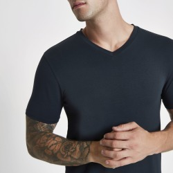Mens Navy muscle fit V neck T-shirt found on MODAPINS from River Island - UK for USD $10.17