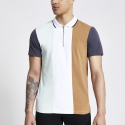Mens River Island White colour blocked half zip polo shirt