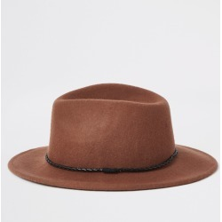 Mens River Island Rust faux leather rope trim Fedora hat