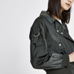 River Island Womens Khaki nylon stitched bomber jacket found on MODAPINS from RIver Island US for USD $110.00