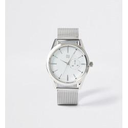 Mens River Island Silver tone mesh strap round watch