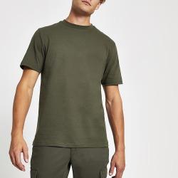 River Island Mens Khaki crew neck short sleeve T-shirt