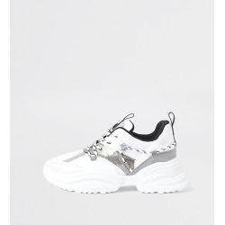 River Island Womens White panelled chunky lace up trainers found on MODAPINS from RIver Island US for USD $84.00
