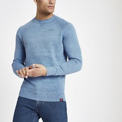 River Island Mens Superdry blue knit crew neck sweatshirt found on MODAPINS from RIver Island US for USD $80.00