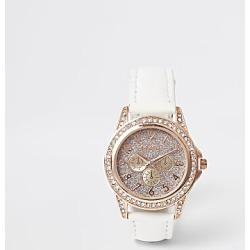 River Island Girls white rose gold diamante watch