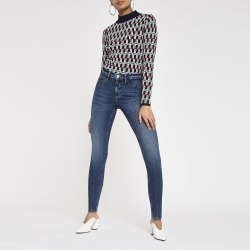 Womens Dark Blue Molly lined jeggings found on MODAPINS from River Island - UK for USD $50.83