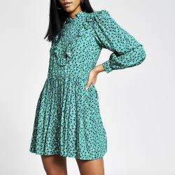 River Island Womens Green spot printed frill mini smock dress