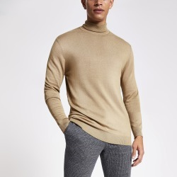 Mens River Island Brown slim fit roll neck knitted jumper