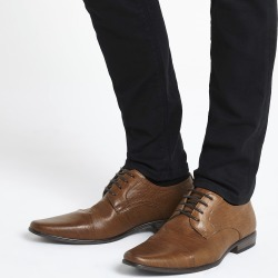 Mens River Island Brown embossed lace-up derby shoes