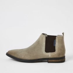 Mens River Island Beige suede Chelsea boots