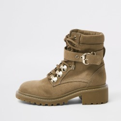 Womens Beige faux suede lace-up hiking boots found on MODAPINS from River Island - UK for USD $37.77