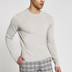 River Island Mens Stone long sleeve slim fit knitted top