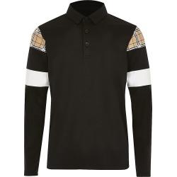River Island Boys black check blocked polo shirt