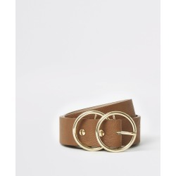 River Island Womens Brown leather double ring buckle belt found on Bargain Bro UK from River Island - UK