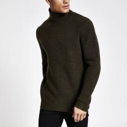 Mens River Island Green slim fit roll neck knitted jumper