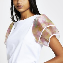 River Island Womens White floral organza frill sleeve T-shirt found on MODAPINS from River Island - UK for USD $32.56