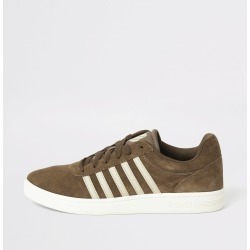 Mens River Island K-Swiss Brown suede stripe side trainers