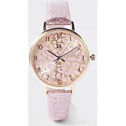 River Island Girls pink leopard print face glitter watch