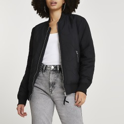 River Island Womens Black quilted bomber jacket found on MODAPINS from RIver Island US for USD $102.00