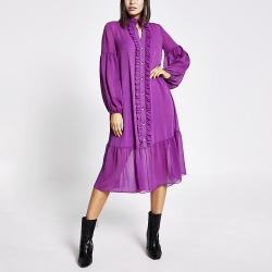 River Island Womens Purple frill long sleeve midi smock dress