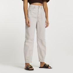 River Island Womens Ecru high waisted tapered jeans found on MODAPINS from RIver Island US for USD $78.00